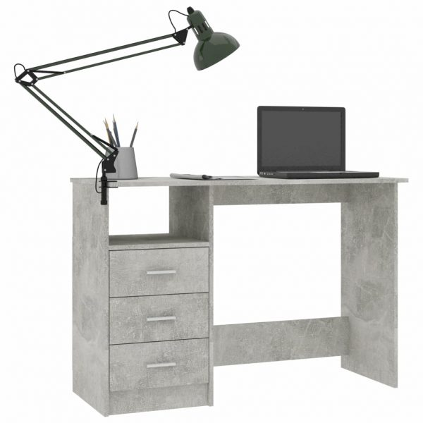 Desk with Drawers Concrete Grey 100x50x76 cm Chipboard 3