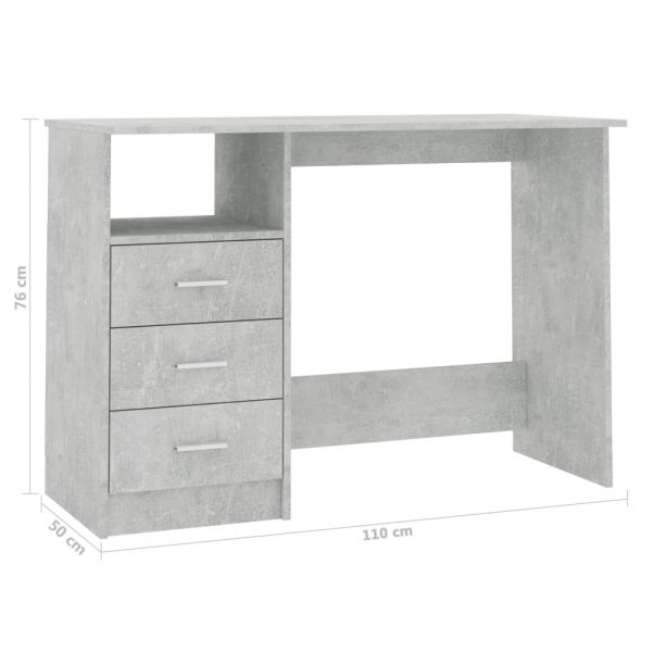 Desk with Drawers Concrete Grey 100x50x76 cm Chipboard 6