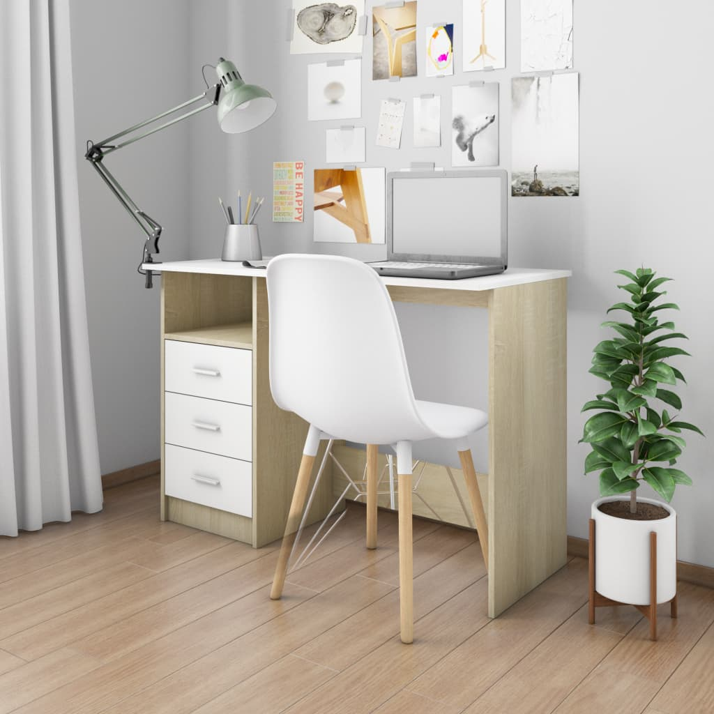 Desk with Drawers White and Sonoma Oak 100x50x76 cm Chipboard