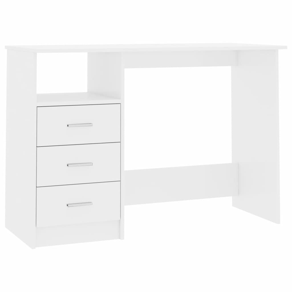 Desk with Drawers High Gloss White 100x50x76 cm Chipboard 2