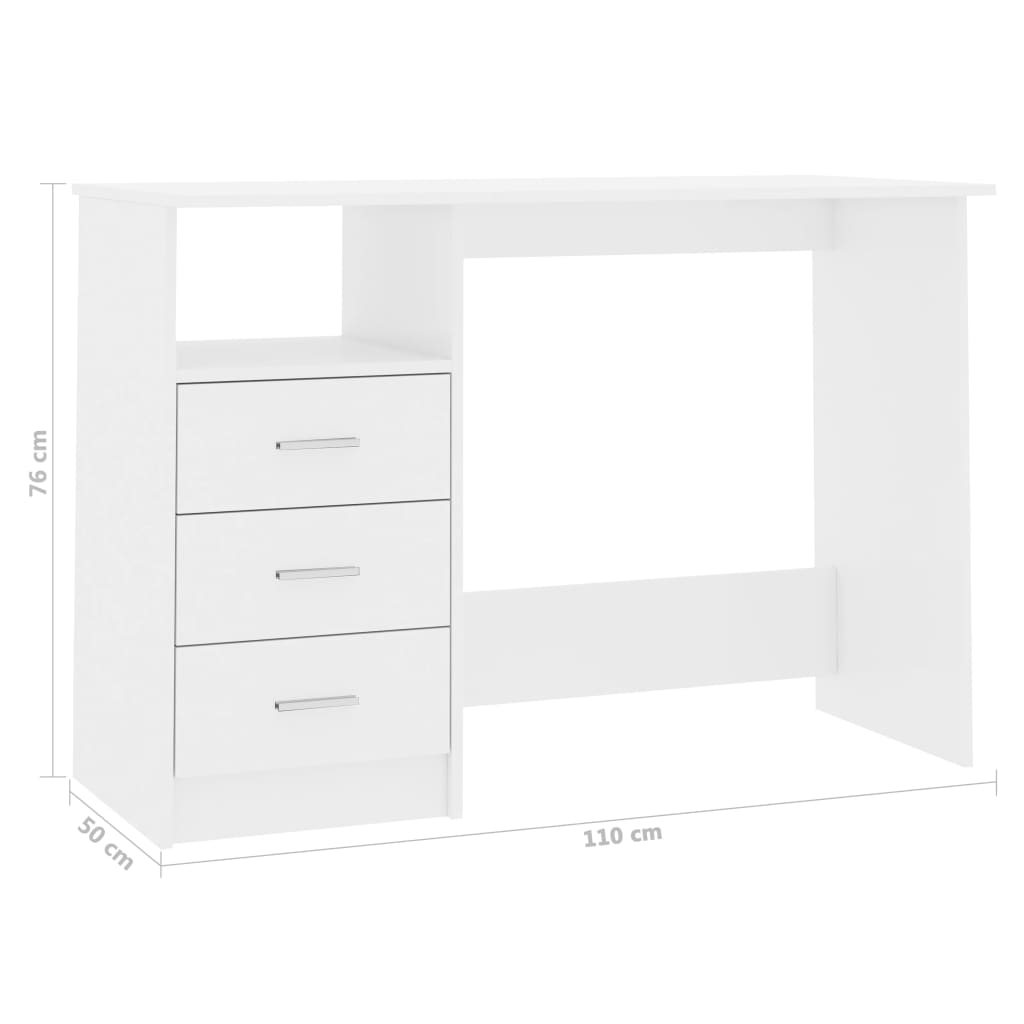 Desk with Drawers High Gloss White 100x50x76 cm Chipboard 6