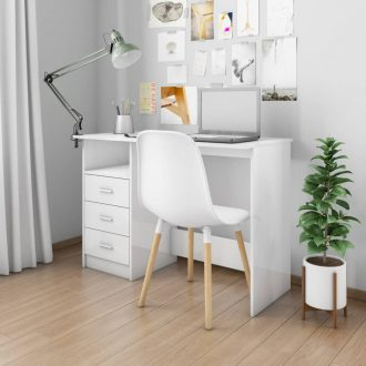 Desk with Drawers High Gloss White 100x50x76 cm Chipboard 1