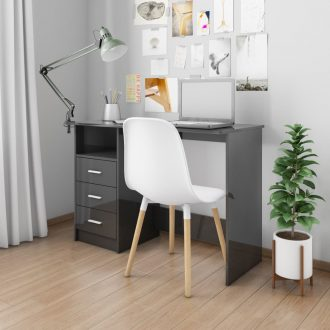 Desk with Drawers High Gloss Black 100x50x76 cm Chipboard 1