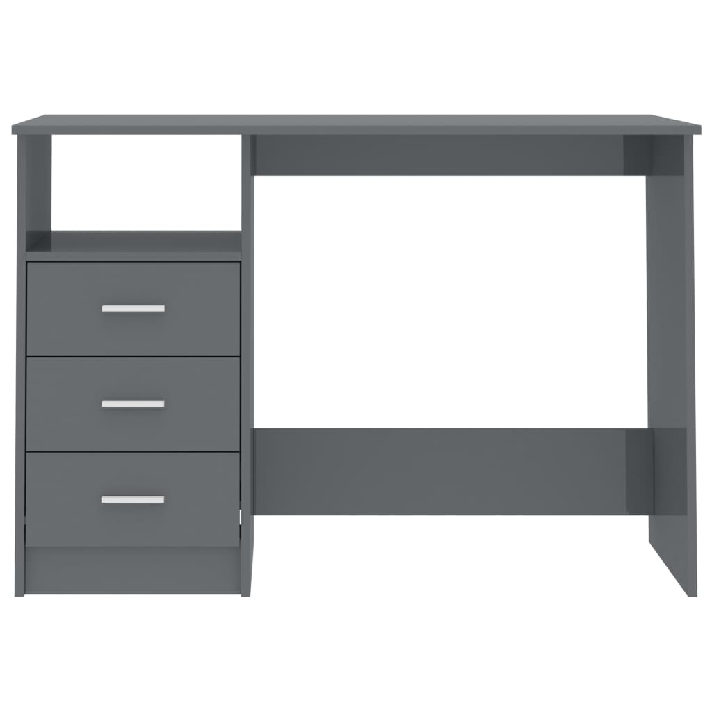 Desk with Drawers High Gloss Grey 100x50x76 cm Chipboard 4