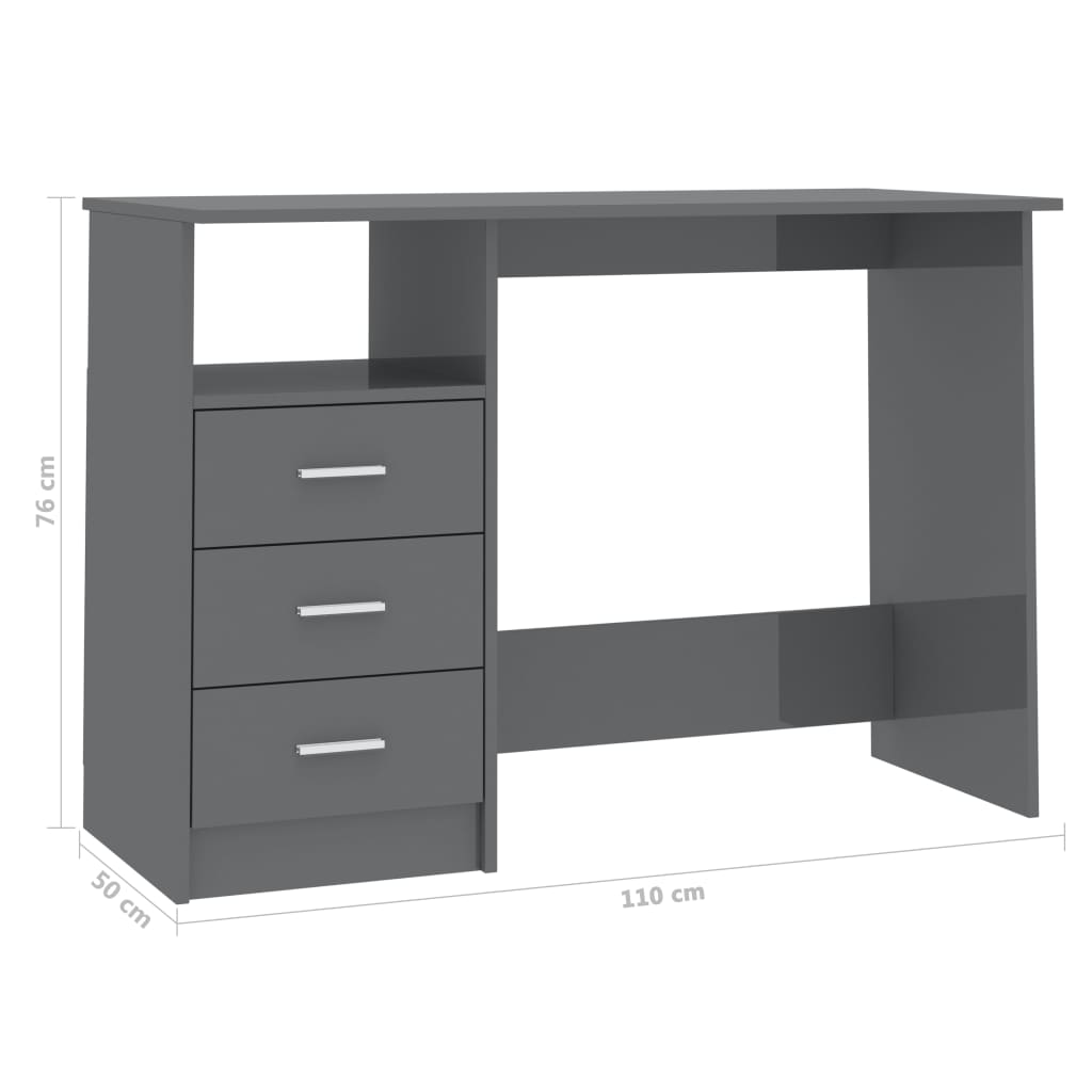 Desk with Drawers High Gloss Grey 100x50x76 cm Chipboard 6