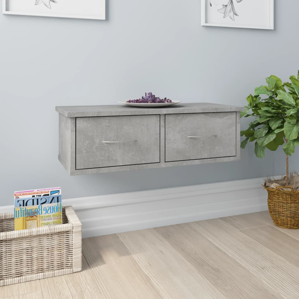 Wall-mounted Drawer Shelf Concrete Grey 60x26x18