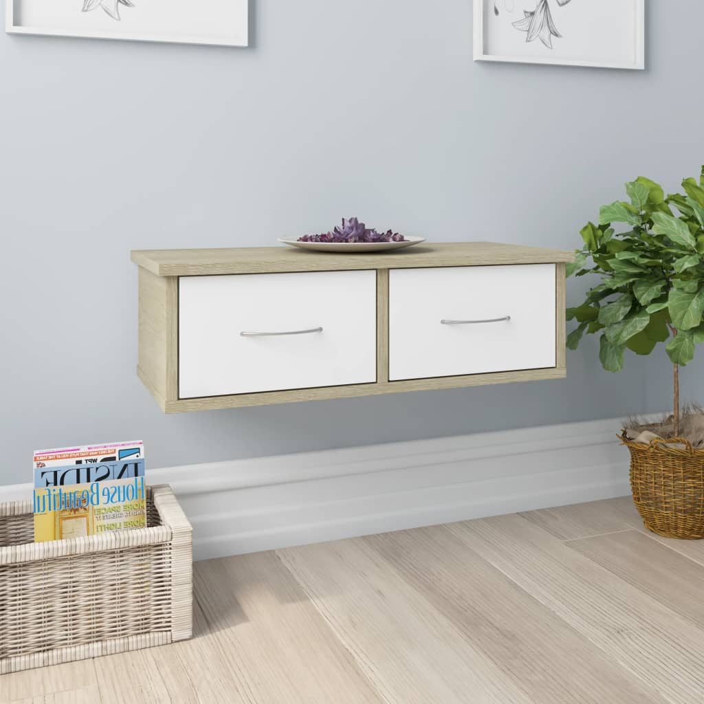 Wall-mounted Drawer Shelf White and Sonoma Oak 60x26x18.5 cm Chipboard