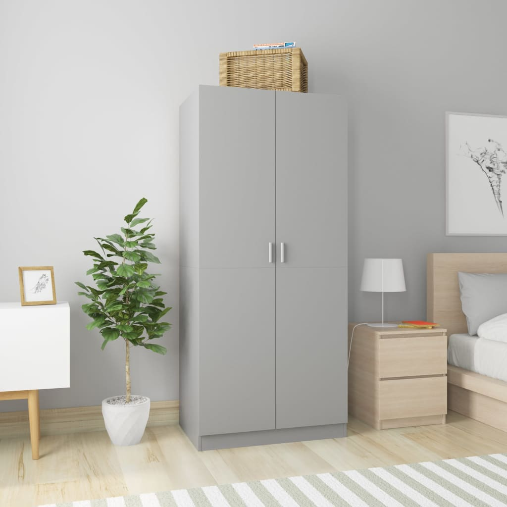 Wardrobe Grey 80x52x180 cm Chipboard