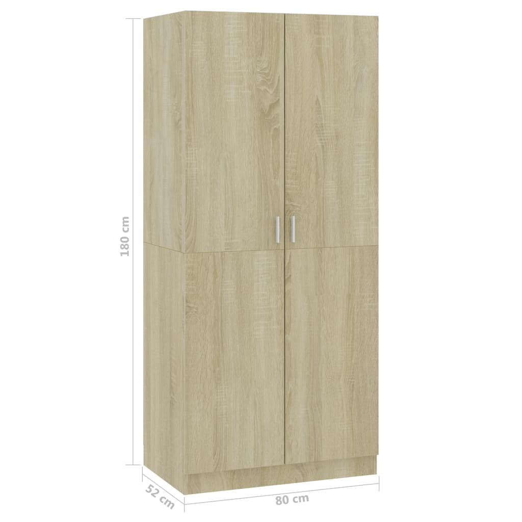 Wardrobe Sonoma Oak 80x52x180 cm Chipboard 8
