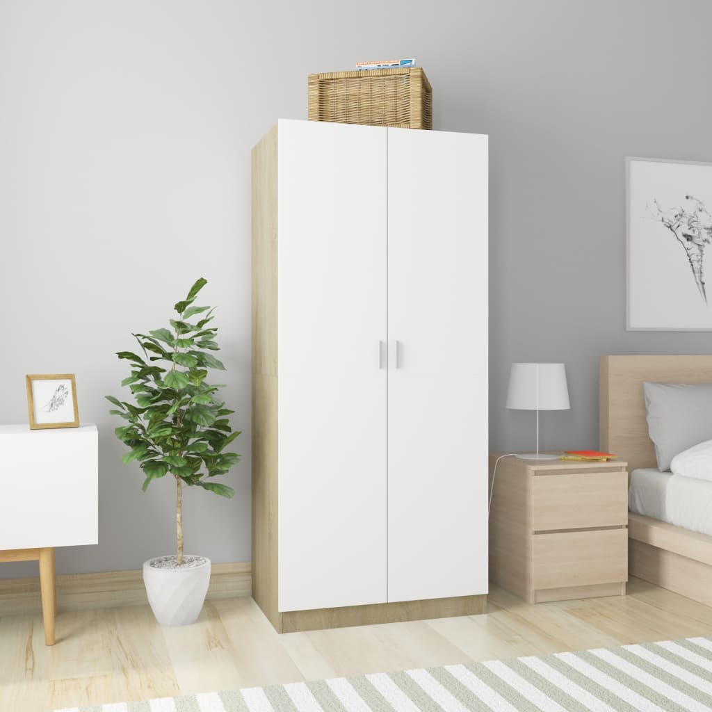 Wardrobe White and Sonoma Oak 80x52x180 cm Chipboard