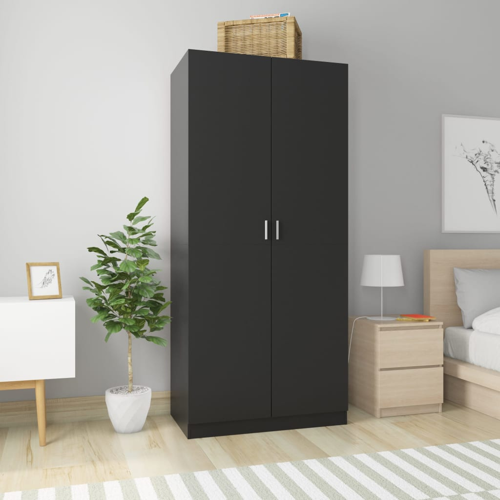 Wardrobe Black 90x52x200 cm Chipboard