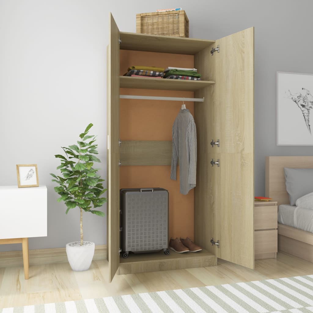 Wardrobe Sonoma Oak 90x52x200 cm Chipboard 3