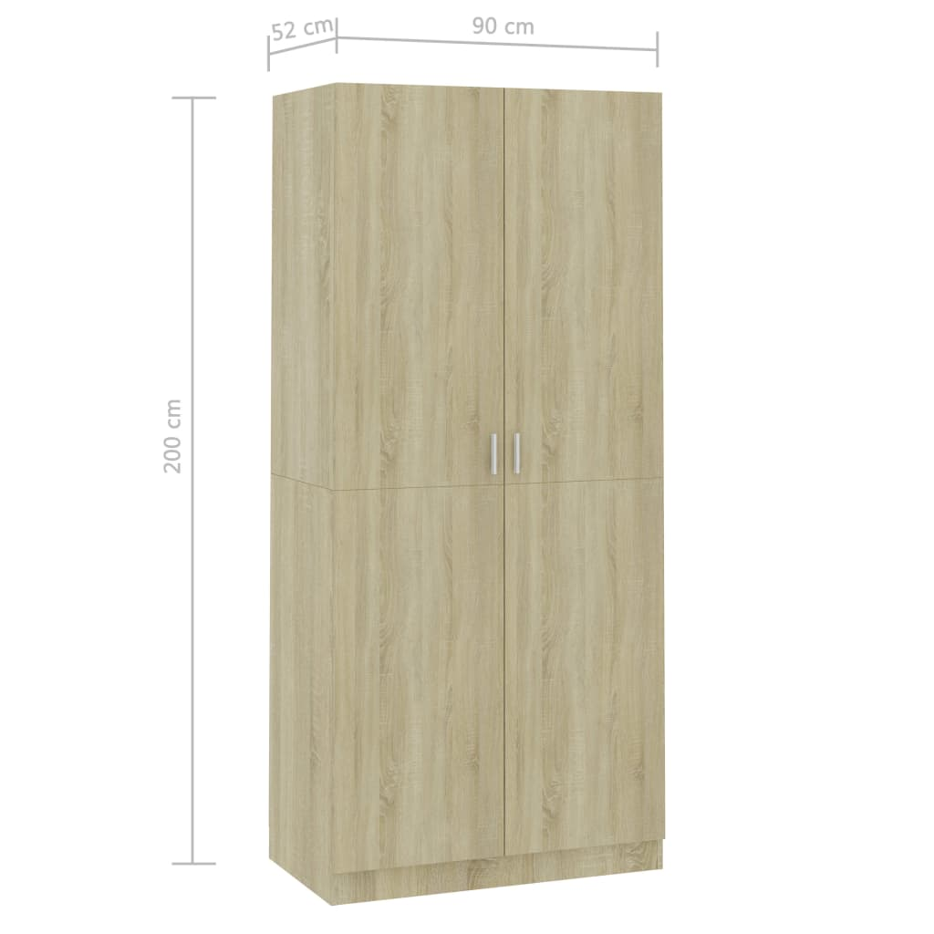 Wardrobe Sonoma Oak 90x52x200 cm Chipboard 8