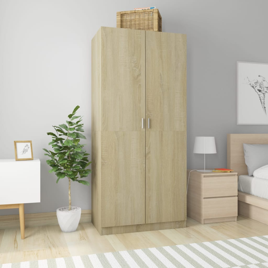 Wardrobe Sonoma Oak 90x52x200 cm Chipboard 1
