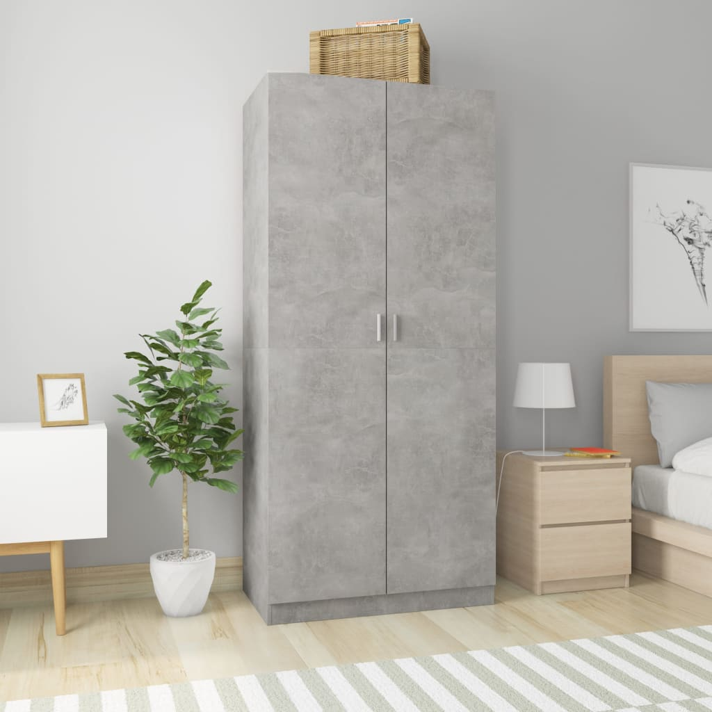 Wardrobe Concrete Grey 90x52x200 cm Chipboard
