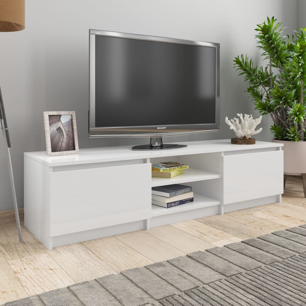 TV Cabinet High Gloss White 140x40x35.5 cm Chipboard