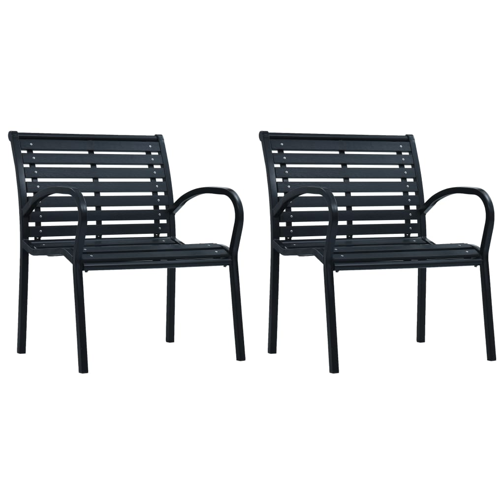 Garden Chairs 2 pcs Black Steel and WPC 1