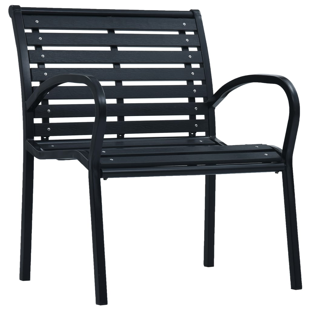 Garden Chairs 2 pcs Black Steel and WPC 2