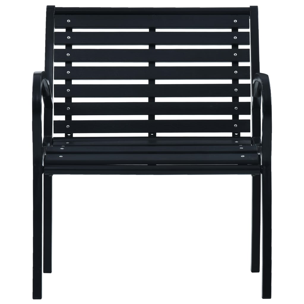 Garden Chairs 2 pcs Black Steel and WPC 3