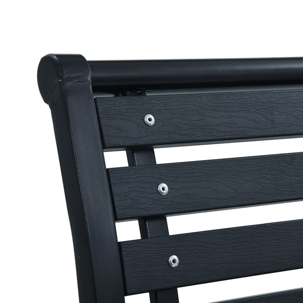 Garden Chairs 2 pcs Black Steel and WPC 6