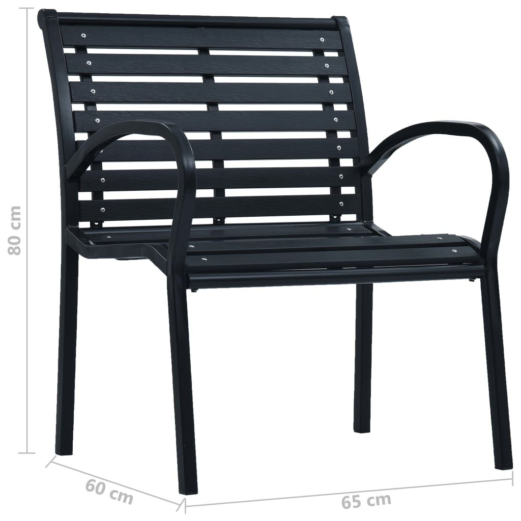 Garden Chairs 2 pcs Black Steel and WPC 8