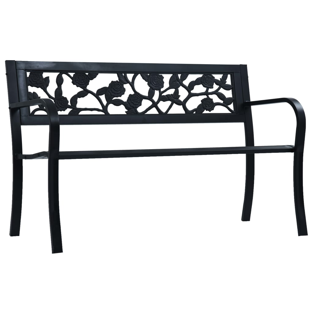 Garden Bench 125 cm Black Steel 1