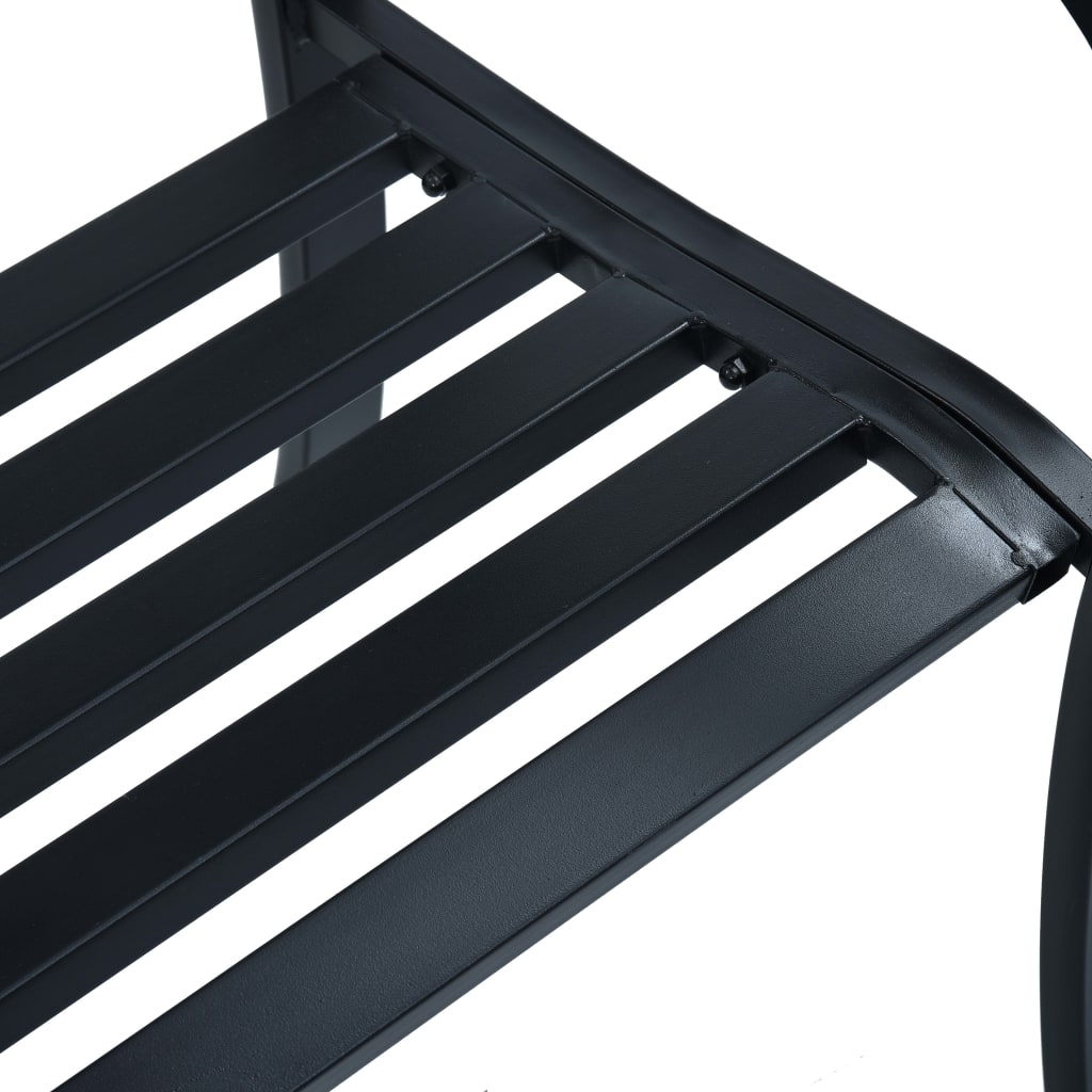 Garden Bench 125 cm Black Steel 6