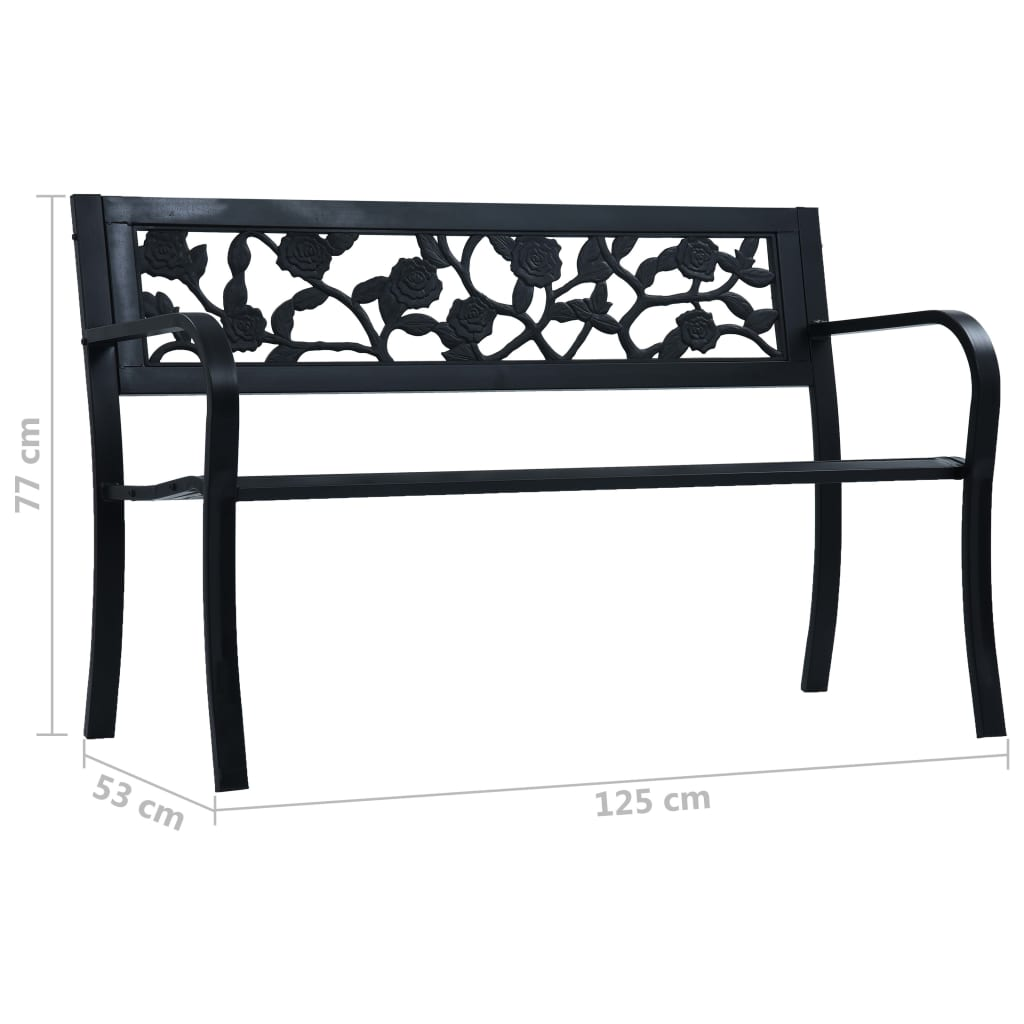 Garden Bench 125 cm Black Steel 7