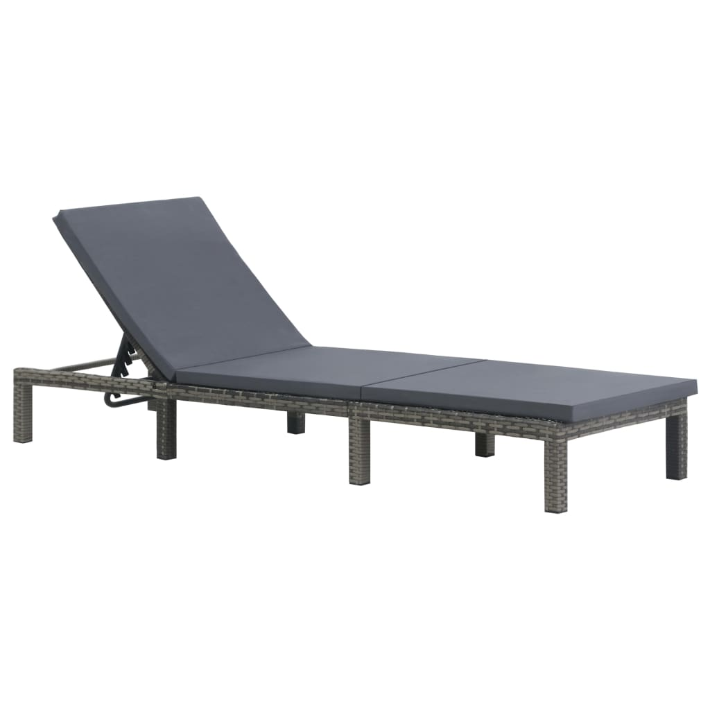 Sun Lounger with Cushion Poly Rattan Anthracite 1