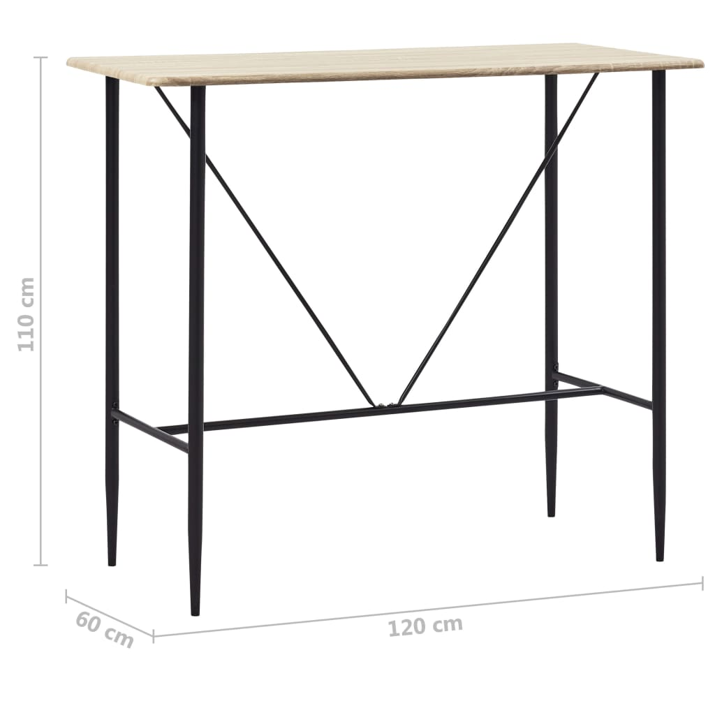 Bar Table Oak 120x60x110 cm MDF 6