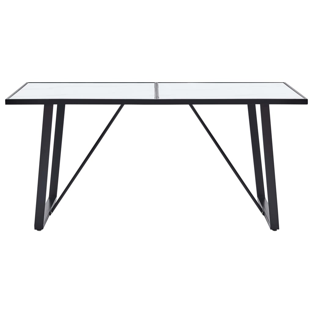 Dining Table White 160x80x75 cm Tempered Glass 2