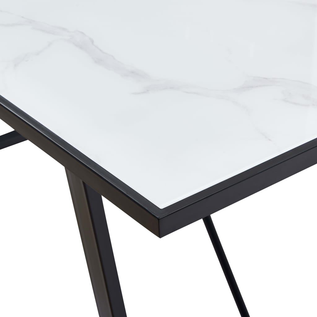 Dining Table White 160x80x75 cm Tempered Glass 5