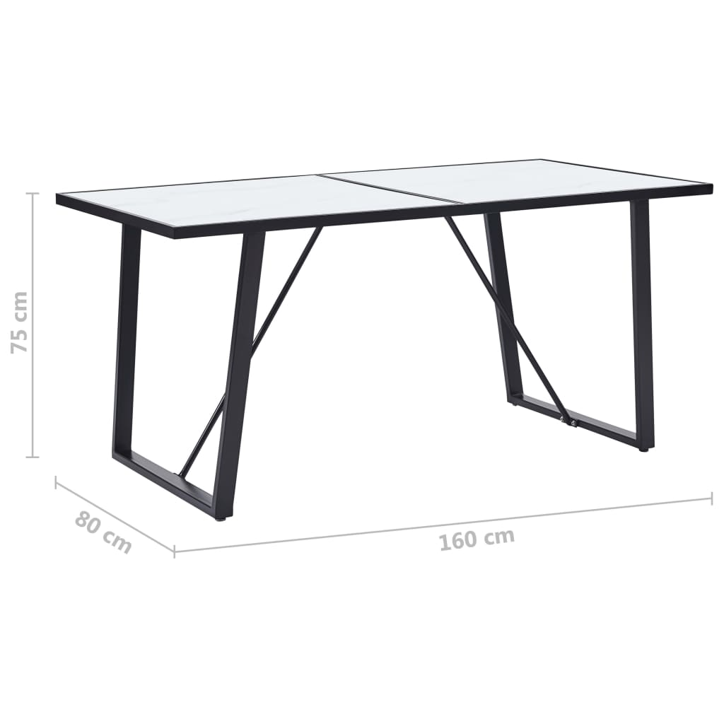 Dining Table White 160x80x75 cm Tempered Glass 6