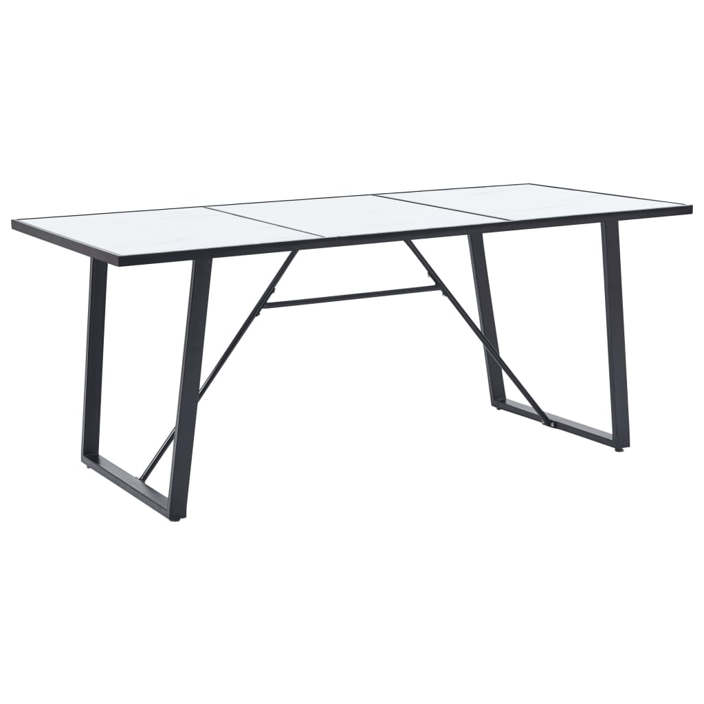 Dining Table White 180x90x75 cm Tempered Glass 1