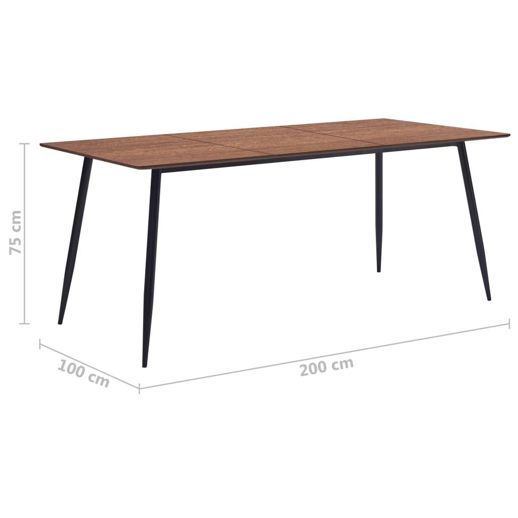 Dining Table Brown 200x100x75 cm MDF 6