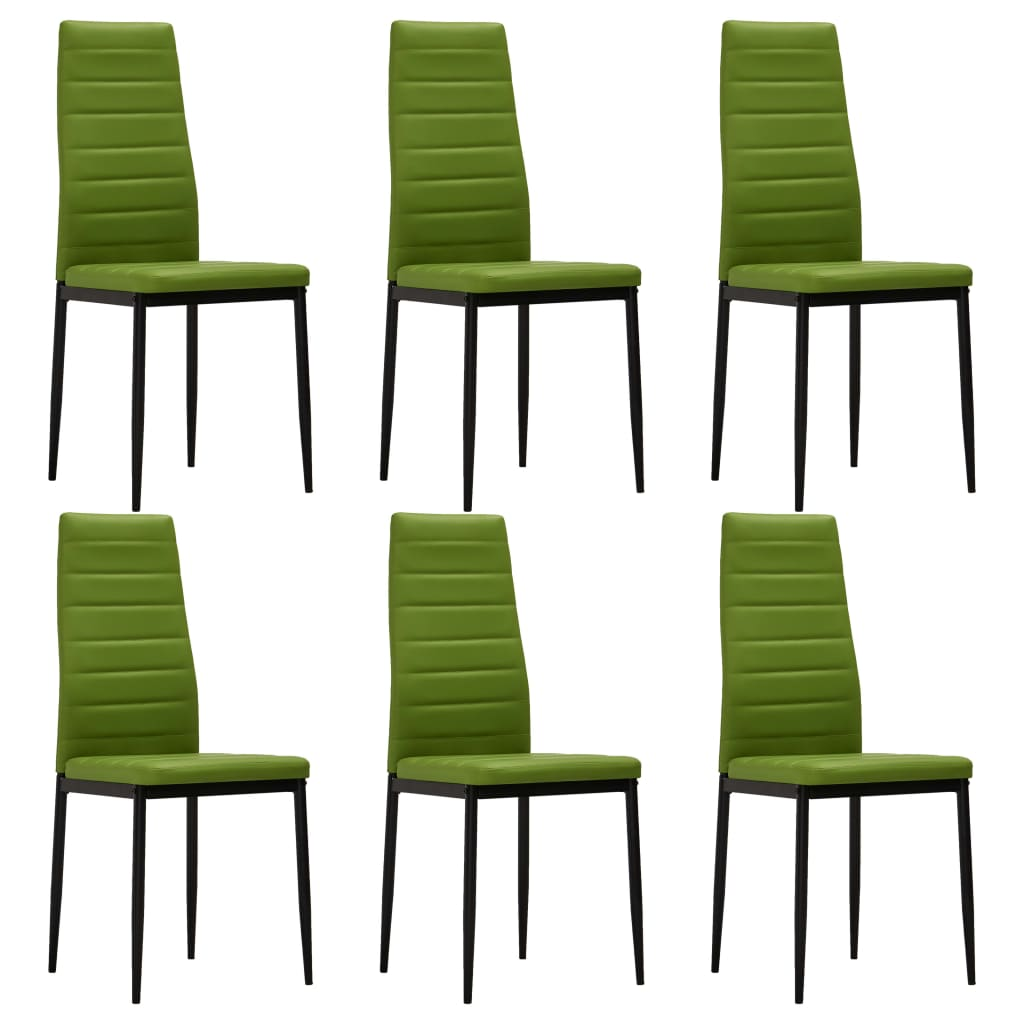 Dining Chairs 6 pcs Lime Green Faux Leather 1