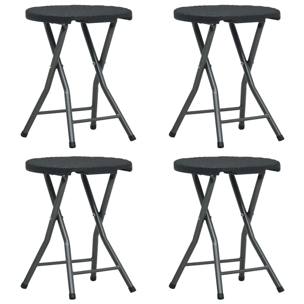 Folding Garden Stools 4 pcs Black HDPE Rattan Look 1