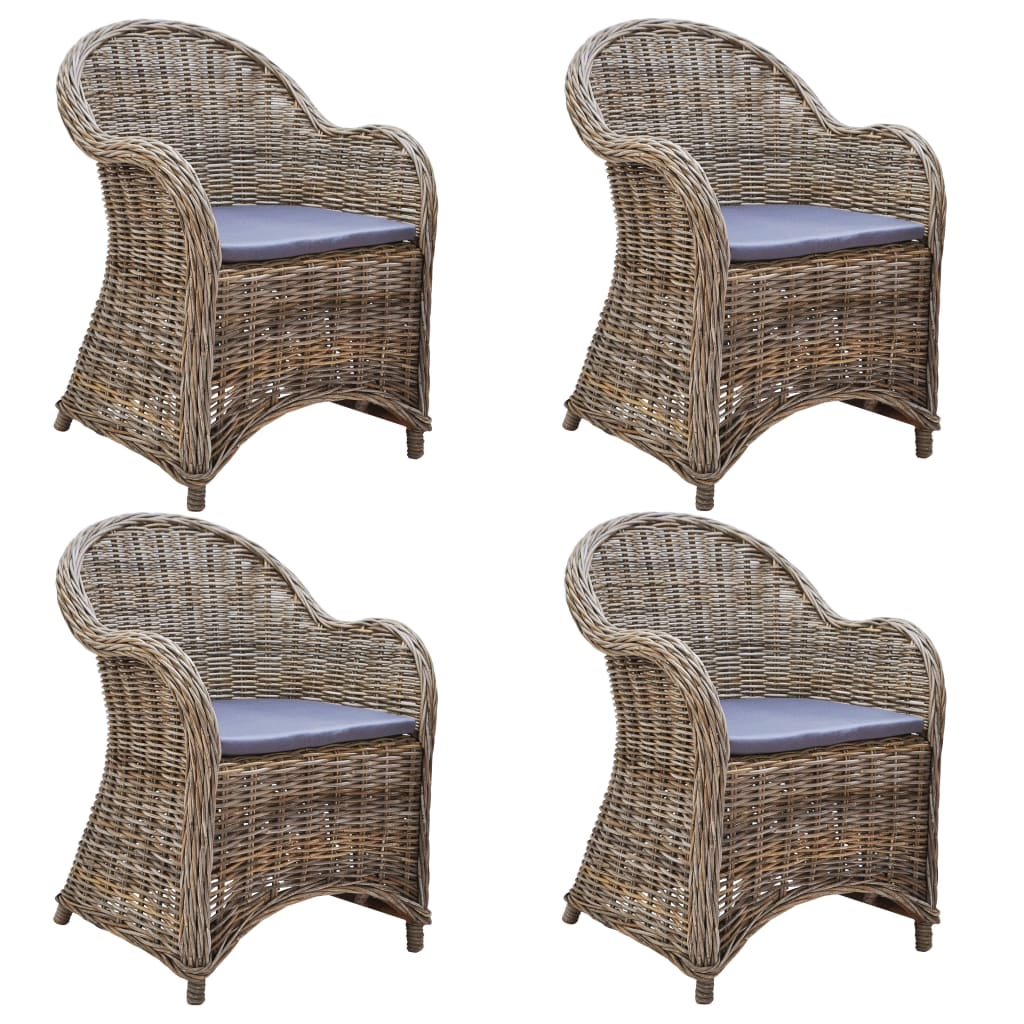 Outdoor Chairs 4 pcs with Cushions Natural Rattan 1