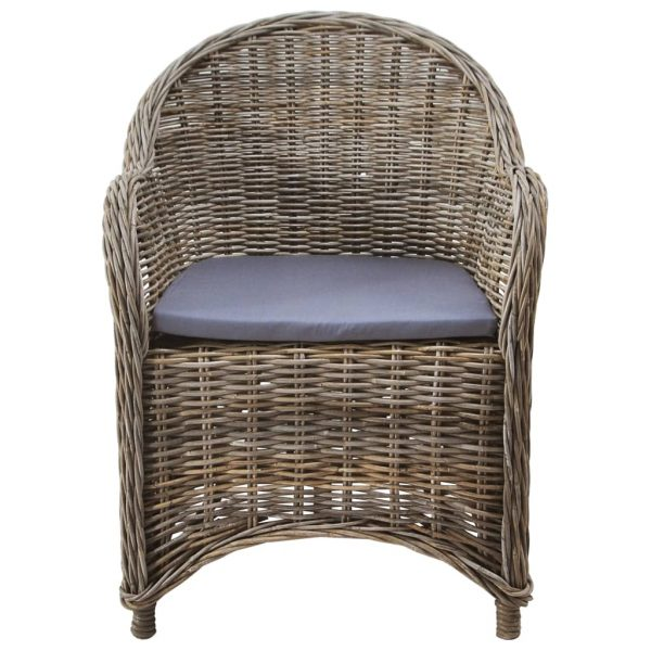 Outdoor Chairs 4 pcs with Cushions Natural Rattan 3