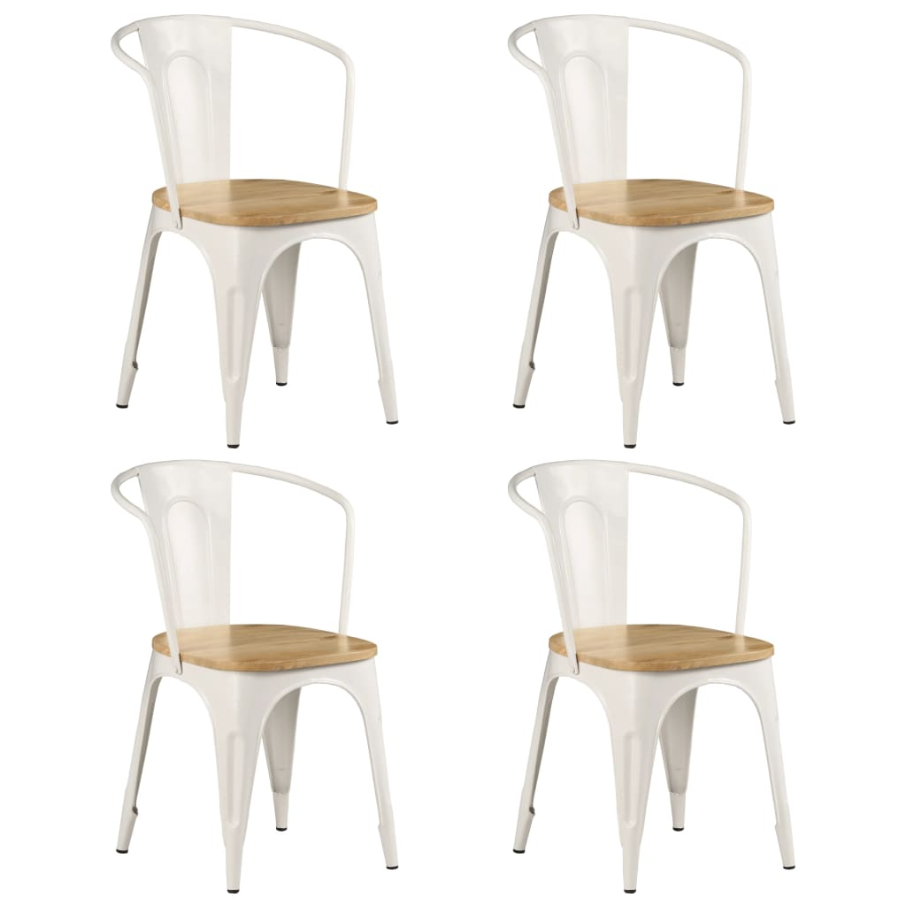 Dining Chairs 4 pcs White Solid Mango Wood