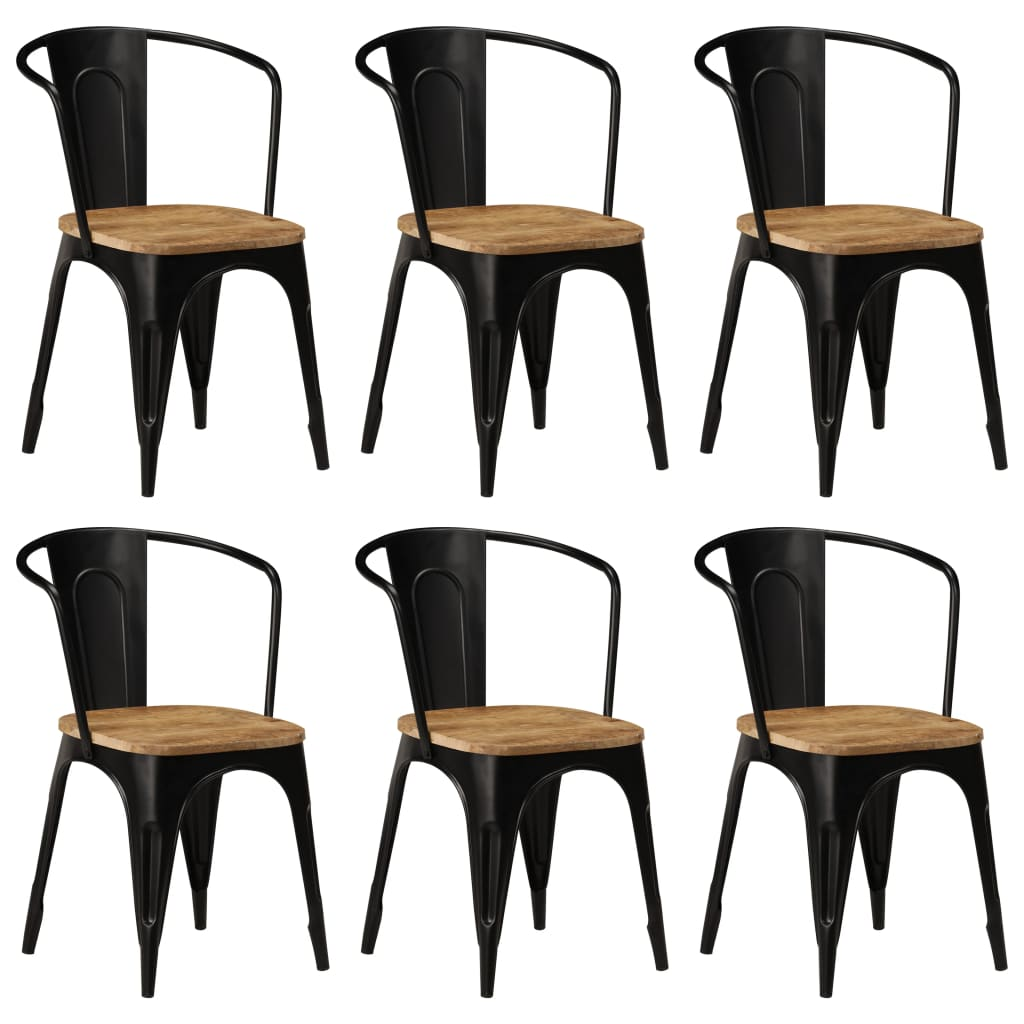 Dining Chairs 6 pcs Black Solid Mango Wood 1