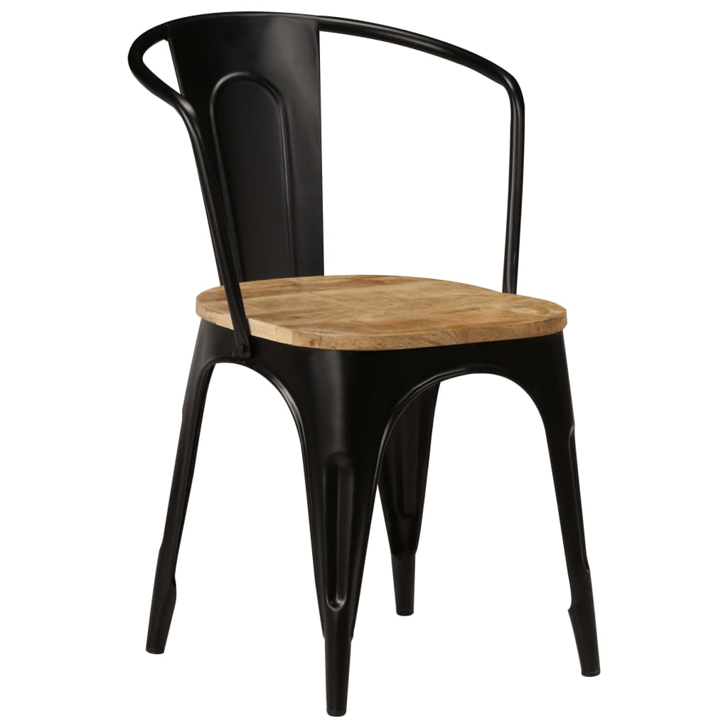 Dining Chairs 6 pcs Black Solid Mango Wood 2