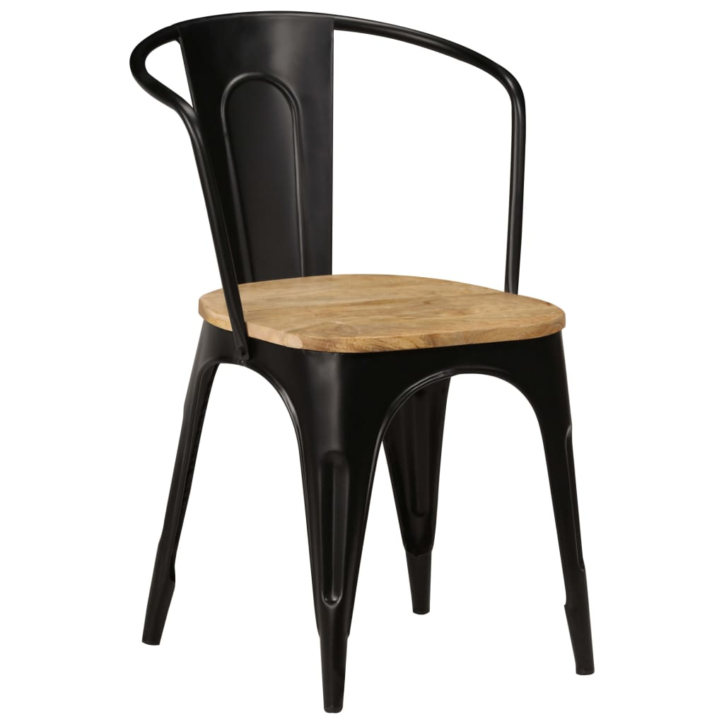 Dining Chairs 6 pcs Black Solid Mango Wood 11