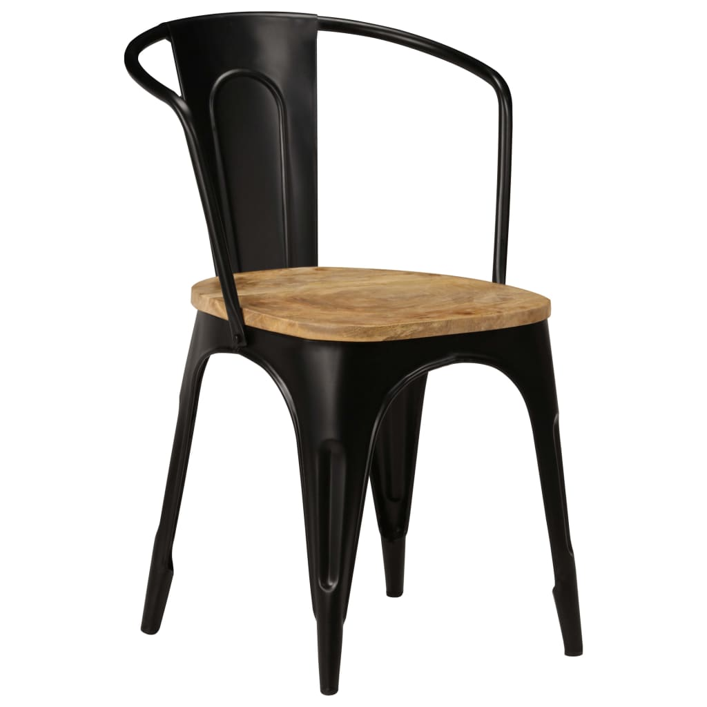 Dining Chairs 6 pcs Black Solid Mango Wood 3