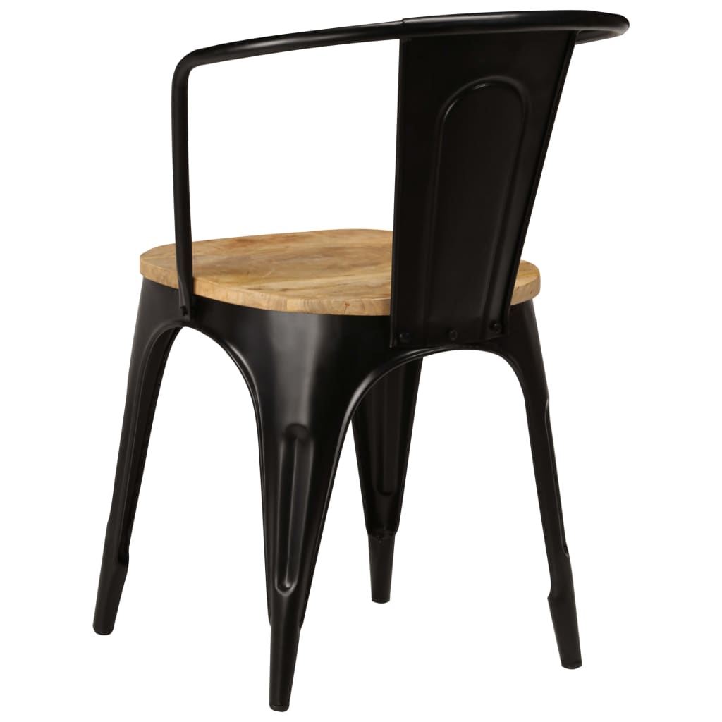 Dining Chairs 6 pcs Black Solid Mango Wood 4