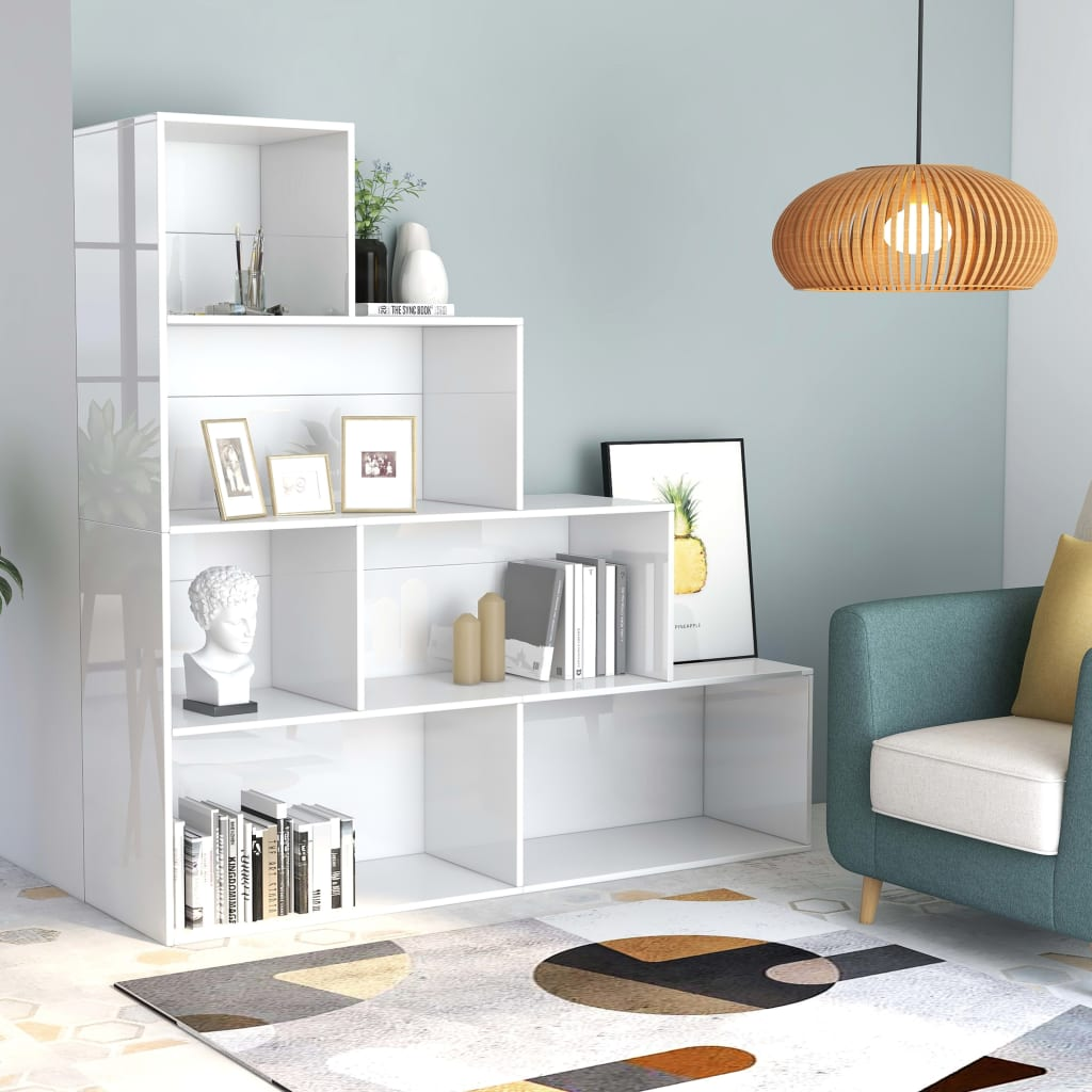 Book Cabinet/Room Divider High Gloss White 155x24x160 cm Chipboard 1