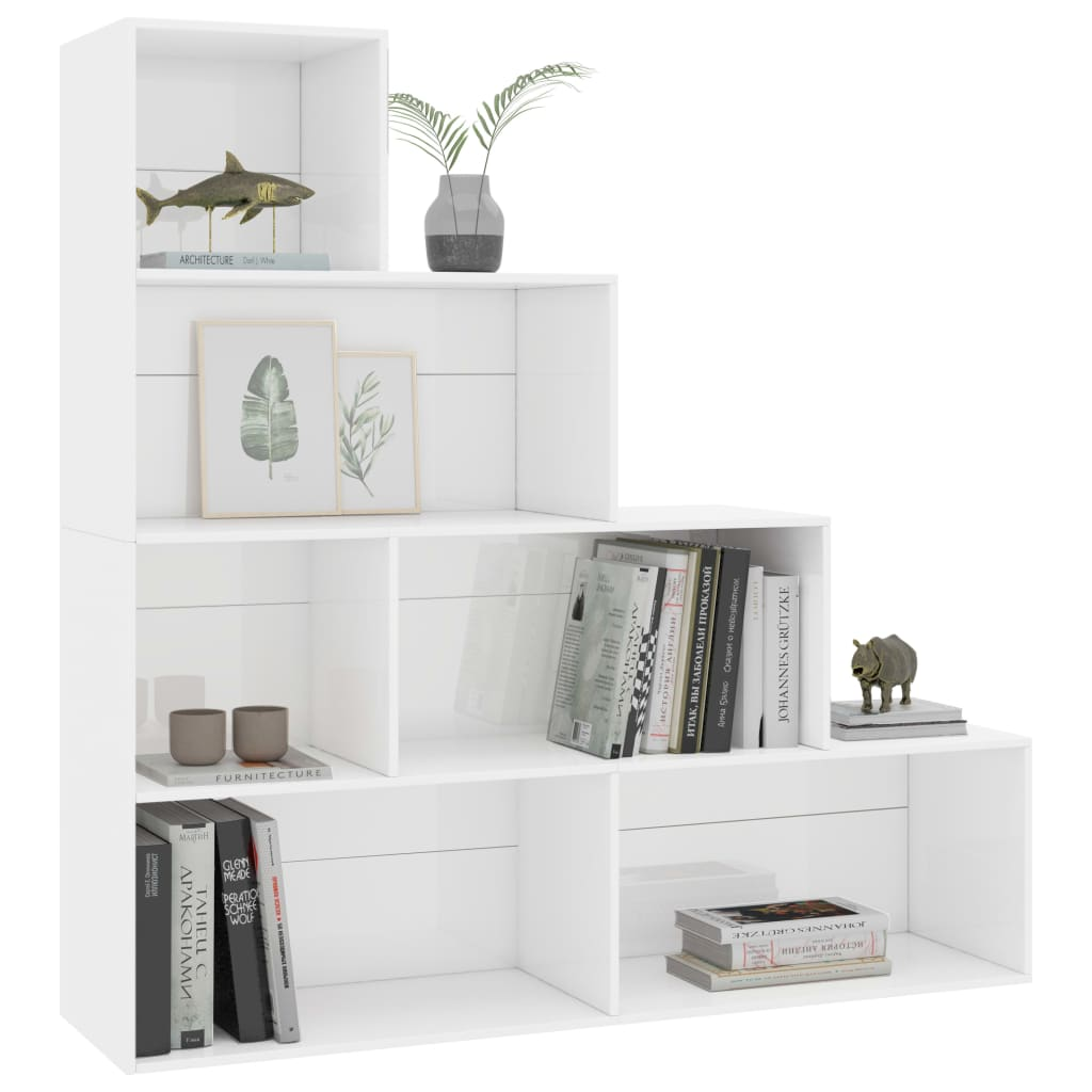 Book Cabinet/Room Divider High Gloss White 155x24x160 cm Chipboard 2