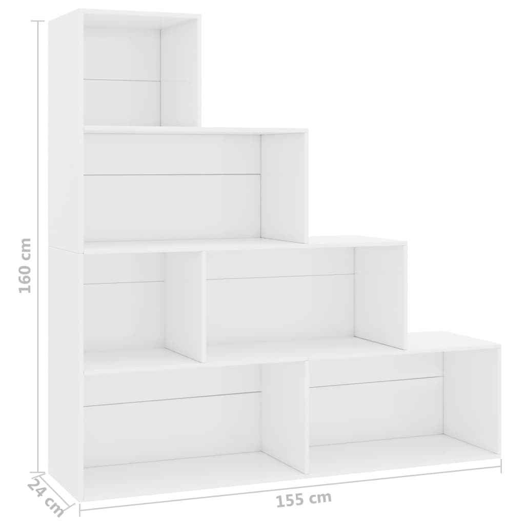 Book Cabinet/Room Divider High Gloss White 155x24x160 cm Chipboard 5