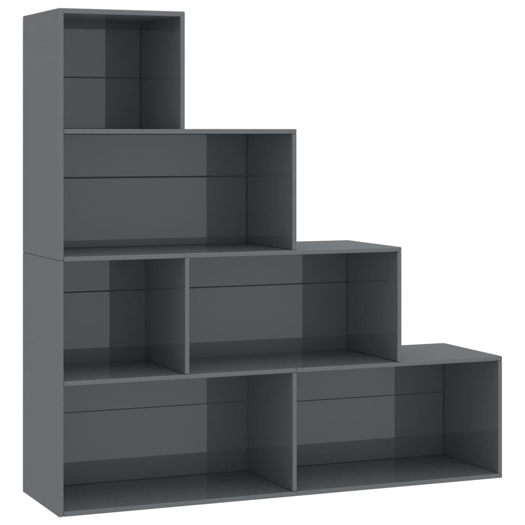 Book Cabinet/Room Divider High Gloss Grey 155x24x160 cm Chipboard 2