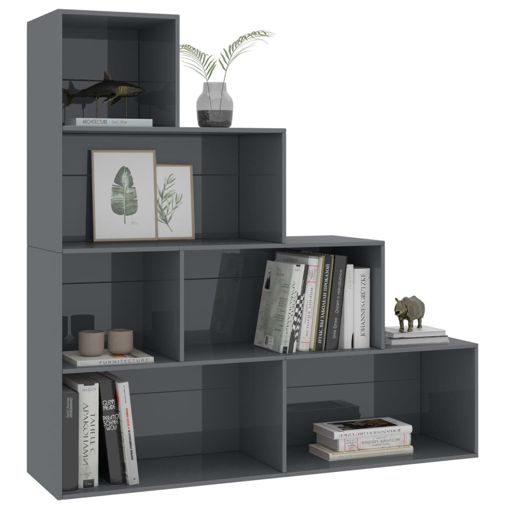 Book Cabinet/Room Divider High Gloss Grey 155x24x160 cm Chipboard 3